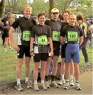 Das Marathon-Team des SV Lembeck: Helmut Rentmeister, Sabine Arentz, Manfred Diekenbrock, Jörg Lippert und Karl-Heinz Mecking